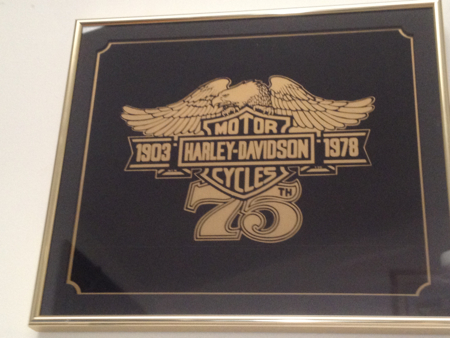 Harley 75th Anniversary Painted Glass