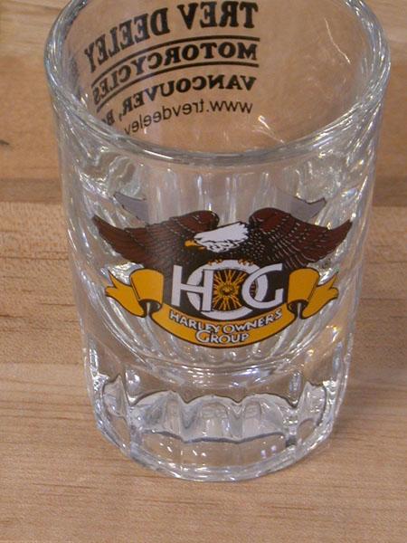 Trev Deeley/HOG shot glass