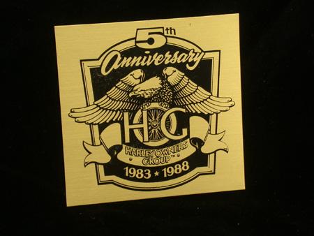 HOG 5th anniversary Brass Plaque