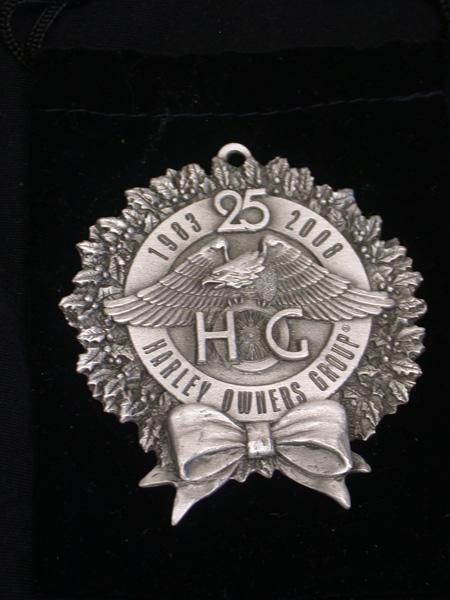 25th anniver HOG pewter Christmas ornament