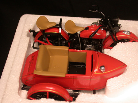 1933 Harley Red Motorcycle Sidecar Bank