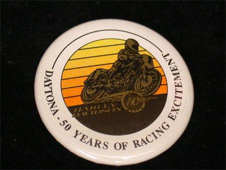 50th Years of Racing Round Daytona Pin Back