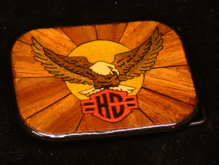 Vintage Harley Davidson Laminated Wood Buckle