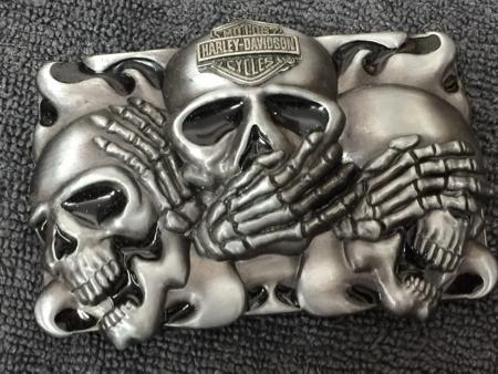 Harley Davidson Pewter Skulls Buckle