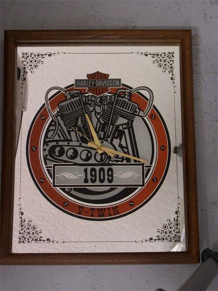 Harley Davidson V-Twin Mirror Clock 80\'s
