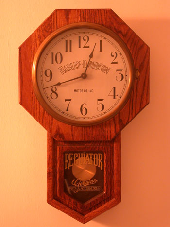 Harley Davidson Oak Regulator Clock 1985