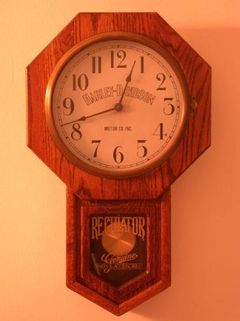 Harley Davidson Oak Regulator Clock 1985