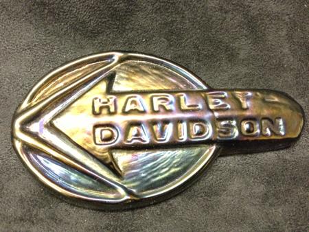 Vintage Harley Davidson Glass Tank Logo
