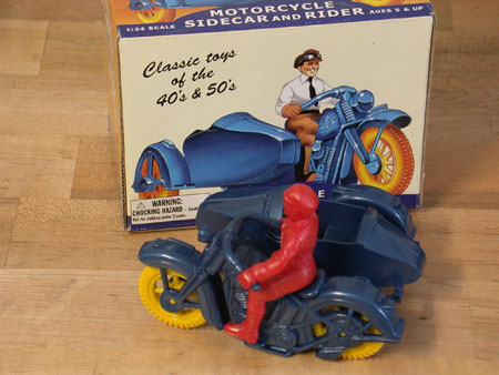 Deluxe Plastic motorcycle Sidecar and Rider