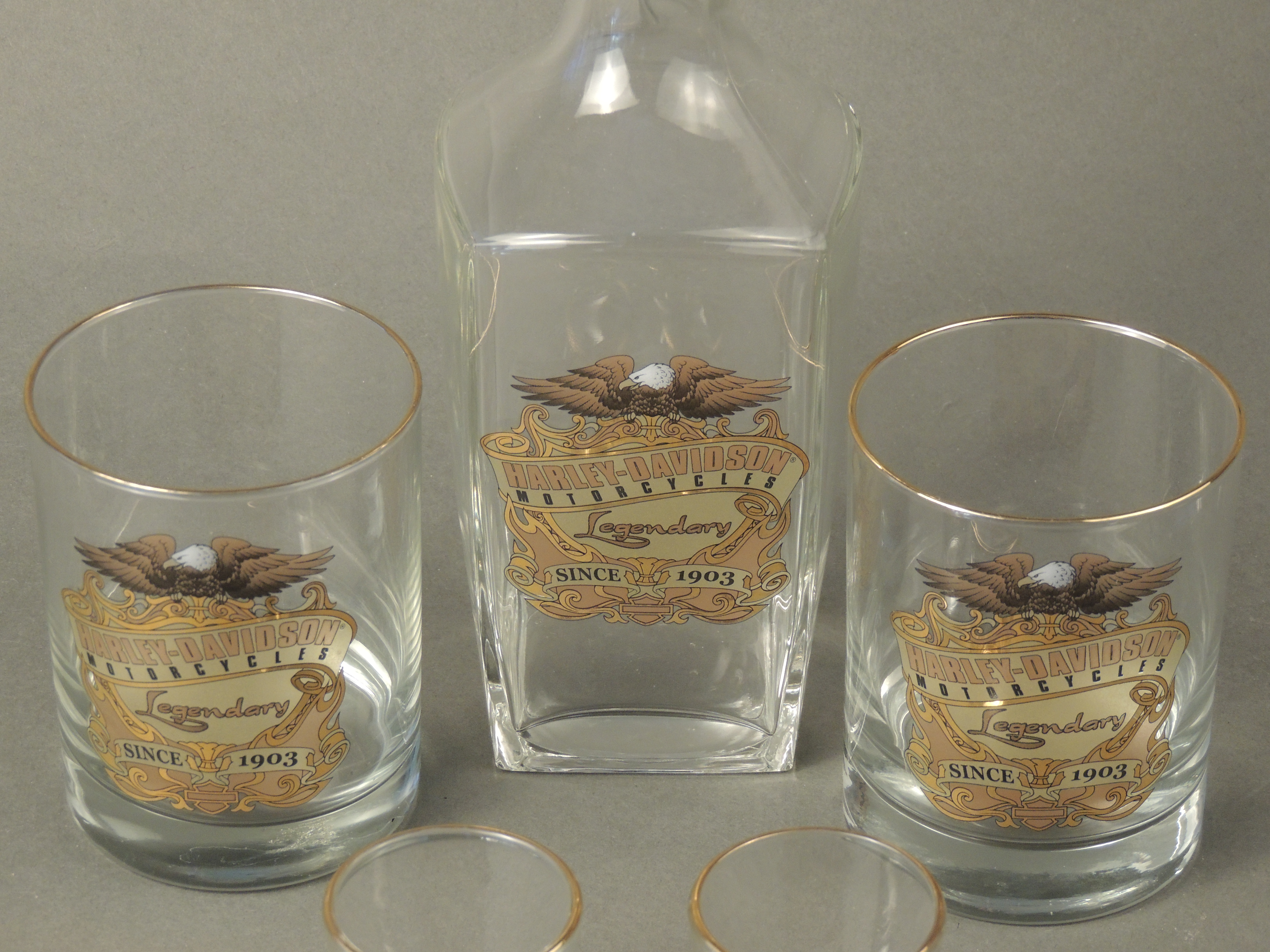Harley Davidson Legendary Decanter with shot and Glass Set
