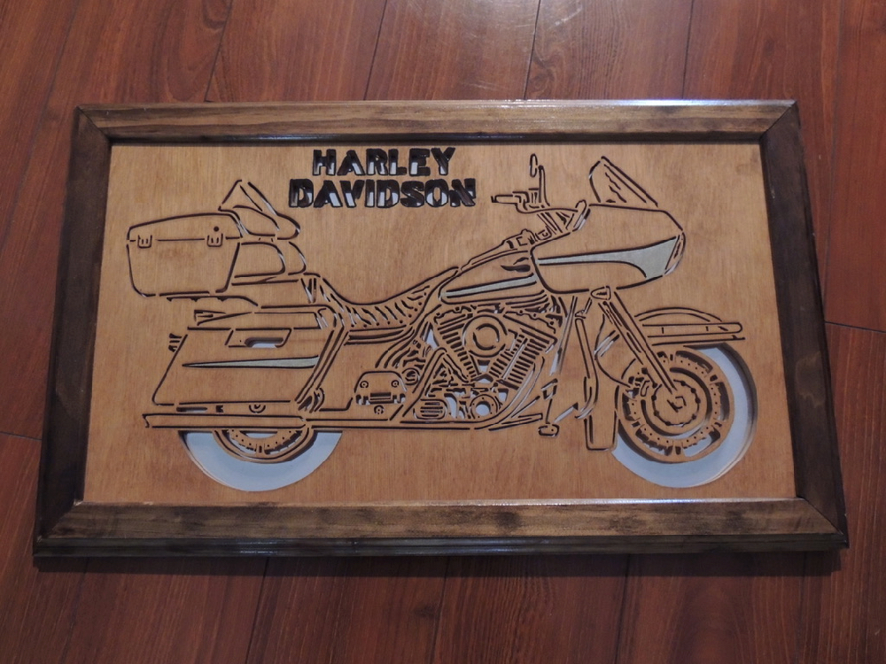Harley Davidson Road Glide Folk Art carved wood  with Mirror One of a Kind