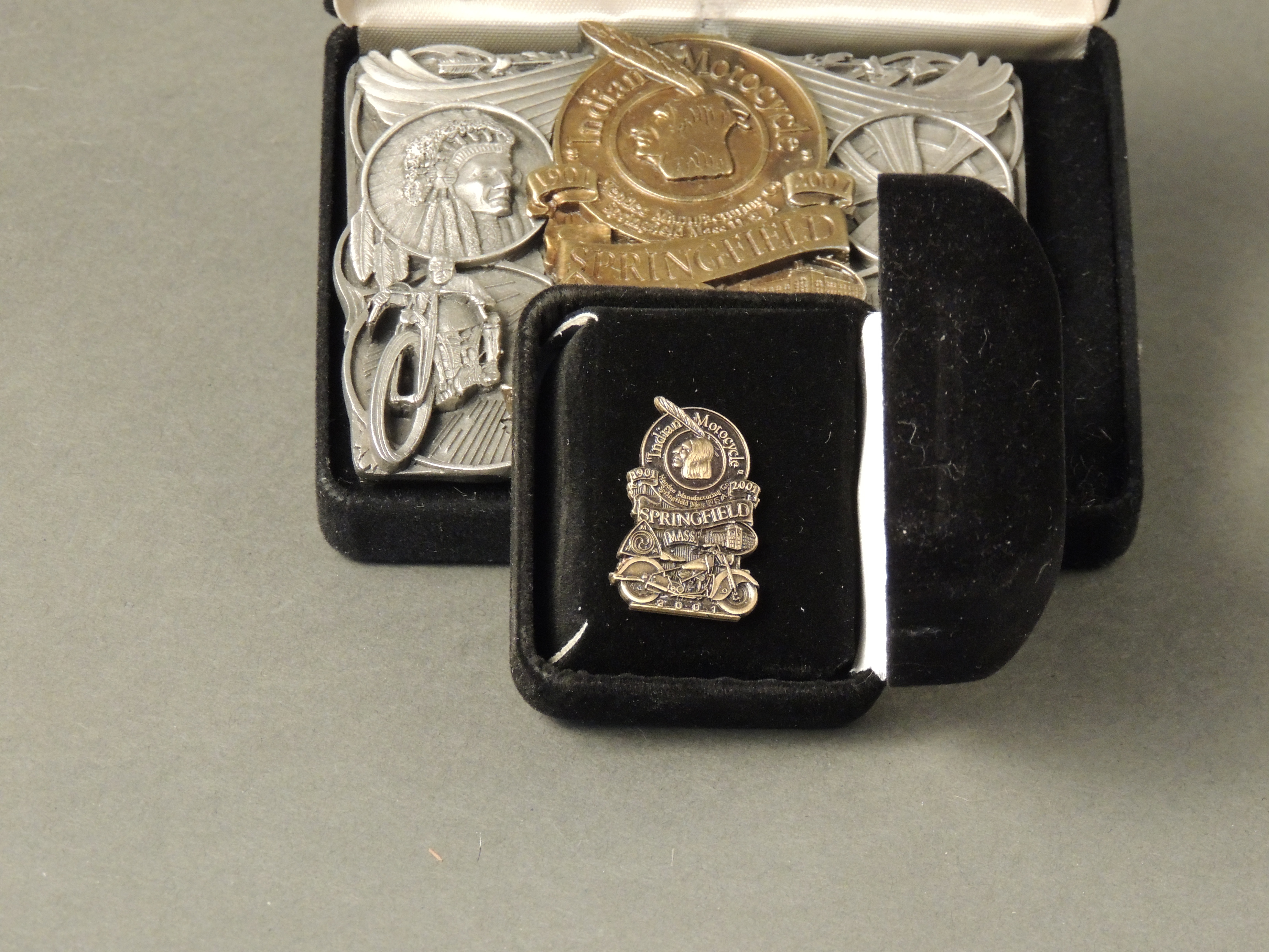 Indian 100th Anniversary Springfield Mass Pewter Buckle with Pin