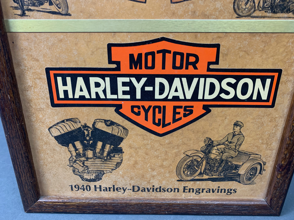 1980\'s Harley Davidson 1940 Engravings Advertising clock, Clock is in good working condition