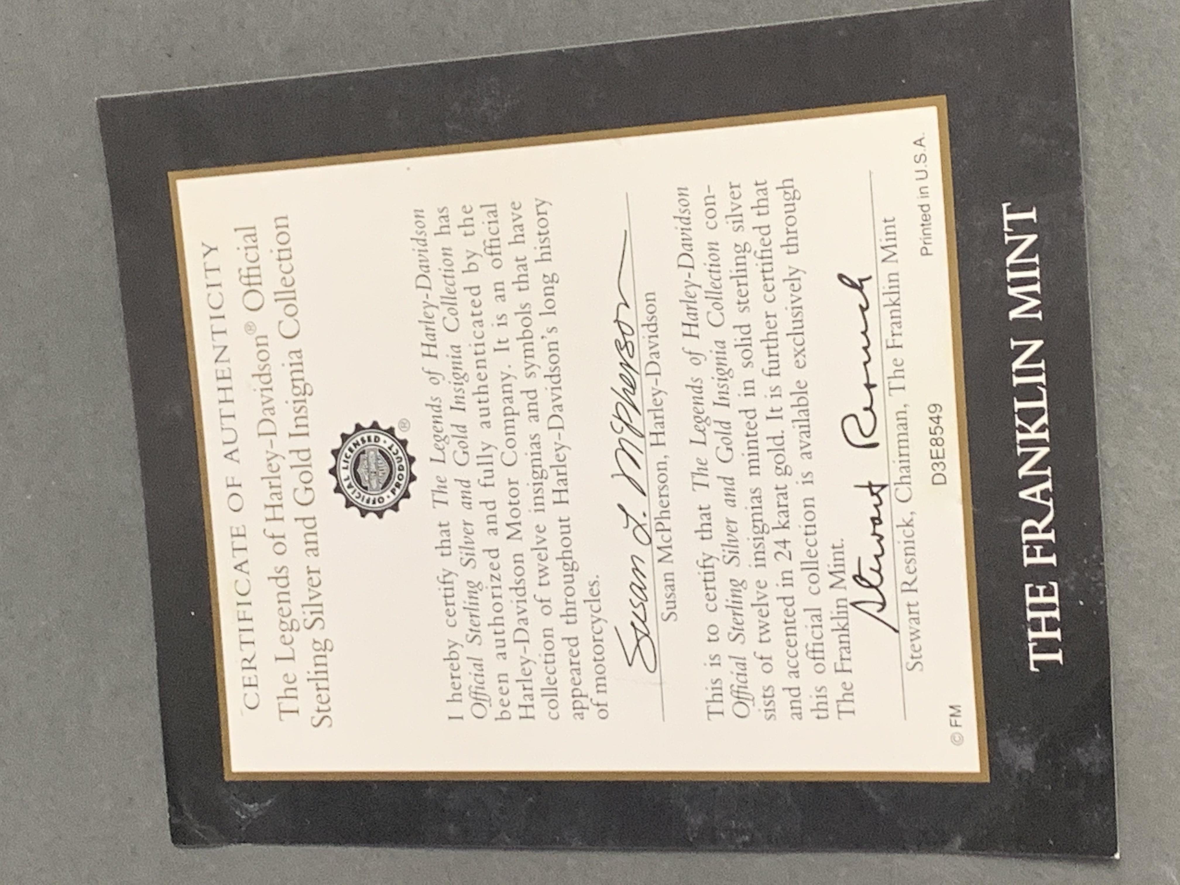 Franklin Mint Sterling silver tank badge Set All Original Boxes