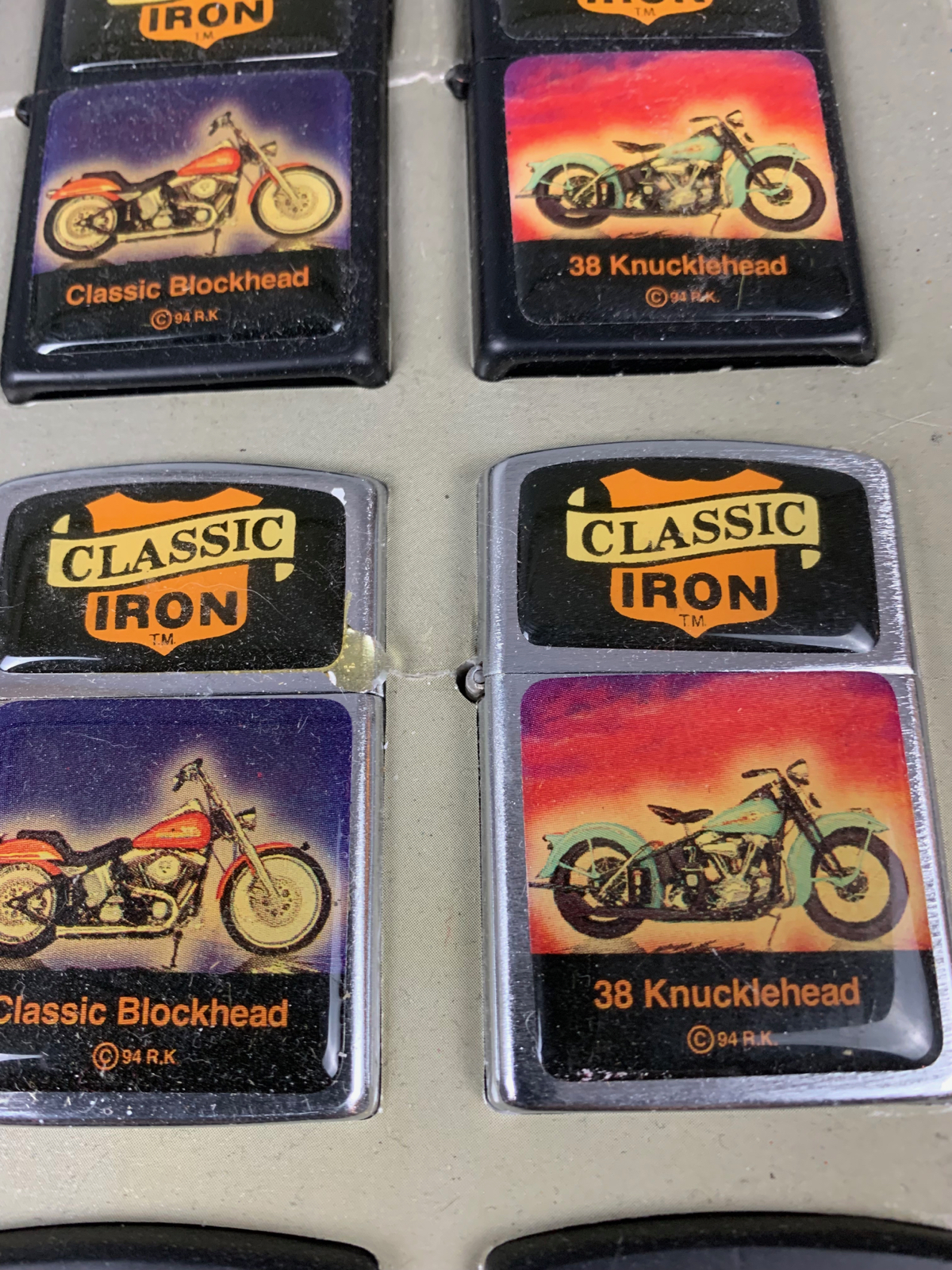 Harley Davidson Vintage Classic Iron Lighter display with New Lighters