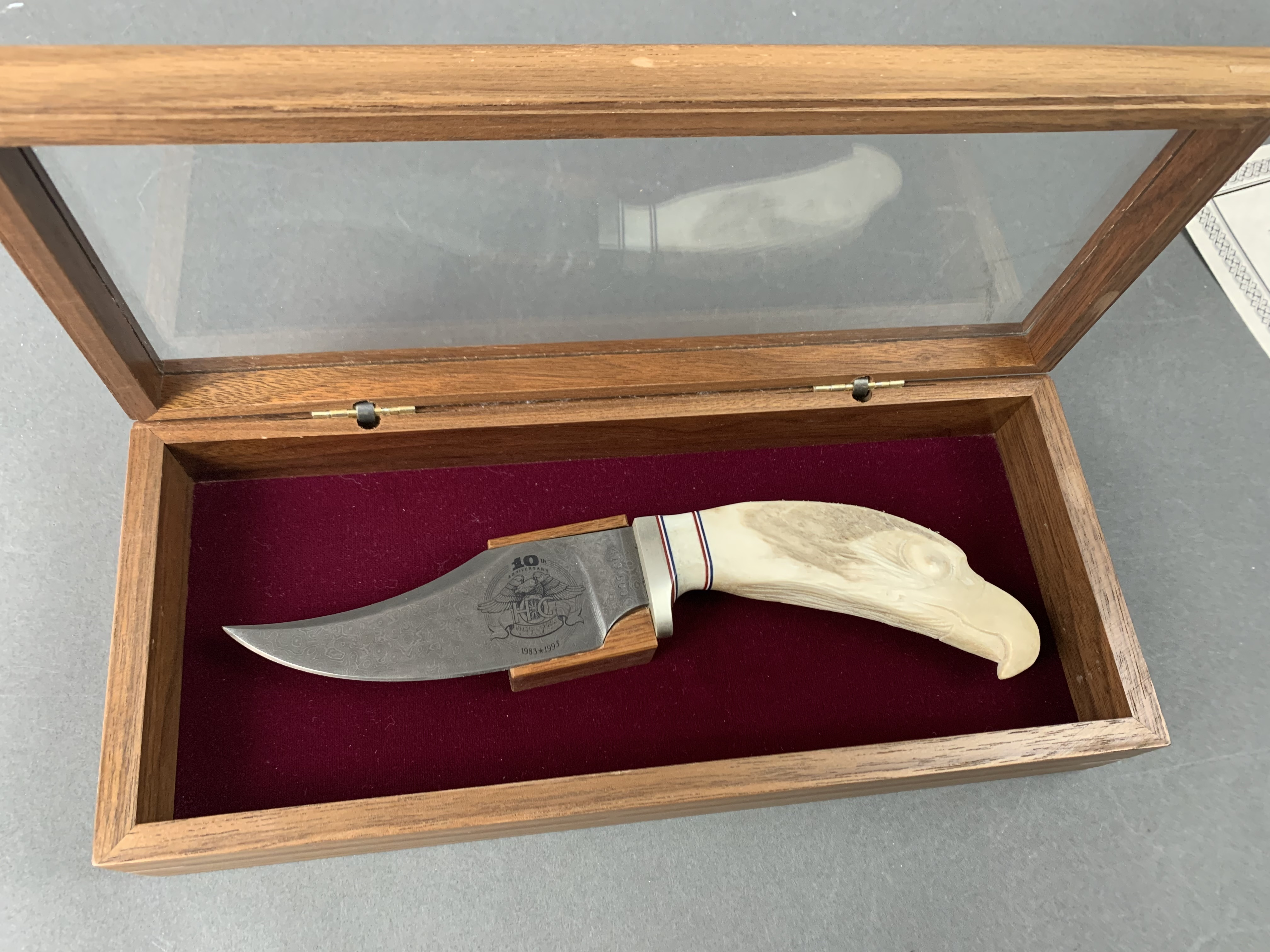 Harley Owner Group 10th Anniversary Damascus knife With Hand Carverd Eagle No two are the same