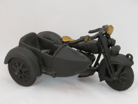 Cast Iron Motorcycle with Sidecar