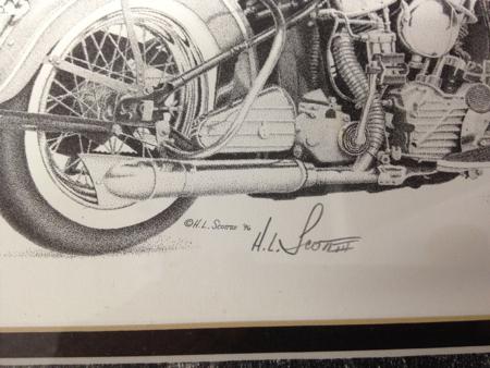 H.L. Scott Pencil Artwork of a 1948 Panhead